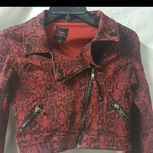 2b bebe Cropped Moto Jacket Red Black Size XS